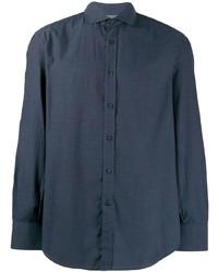 Мужская темно-синяя классическая рубашка от Brunello Cucinelli