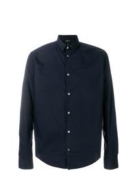 Мужская темно-синяя классическая рубашка от Emporio Armani