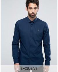 Мужская темно-синяя классическая рубашка от Farah