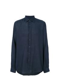 Мужская темно-синяя классическая рубашка от Fashion Clinic Timeless