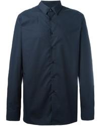 Мужская темно-синяя классическая рубашка от Raf Simons