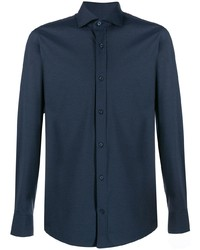 Мужская темно-синяя классическая рубашка от Z Zegna