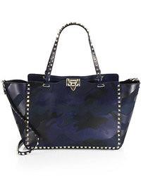 Темно-синяя кожаная большая сумка с камуфляжным принтом