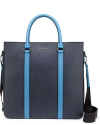 Темно-синяя кожаная большая сумка