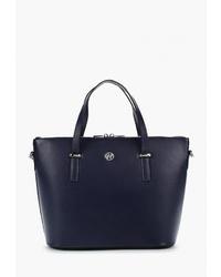 Темно-синяя кожаная большая сумка от Afina