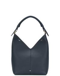 Темно-синяя кожаная большая сумка от Anya Hindmarch