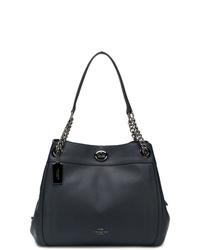 Темно-синяя кожаная большая сумка от Coach