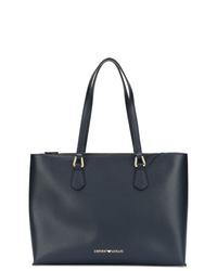 Темно-синяя кожаная большая сумка от Emporio Armani