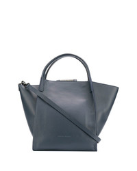 Темно-синяя кожаная большая сумка от Fabiana Filippi