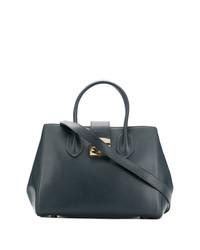 Темно-синяя кожаная большая сумка от Furla