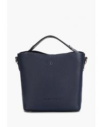 Темно-синяя кожаная большая сумка от Jane's Story