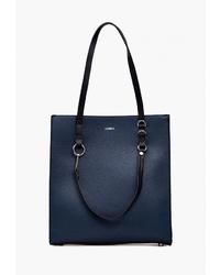 Темно-синяя кожаная большая сумка от Labbra