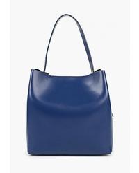 Темно-синяя кожаная большая сумка от LAMANIA