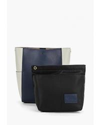 Темно-синяя кожаная большая сумка от Marco Bonne`