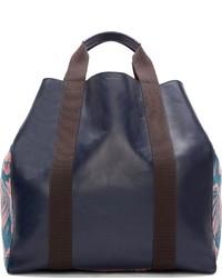 Мужская темно-синяя кожаная большая сумка от Paul Smith