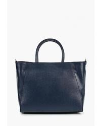 Темно-синяя кожаная большая сумка от Roberto Buono