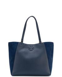 Темно-синяя кожаная большая сумка от Tory Burch