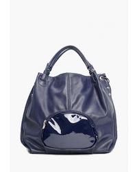 Темно-синяя кожаная большая сумка от Vita