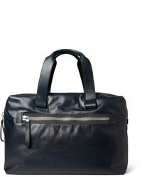 Темно-синяя кожаная дорожная сумка