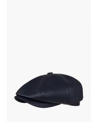 Мужская темно-синяя кожаная кепка от Denkor