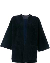 Женская темно-синяя кожаная короткая дубленка от Maison Margiela