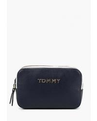 Темно-синяя кожаная поясная сумка от Tommy Hilfiger