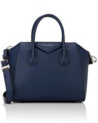 Темно-синяя кожаная спортивная сумка