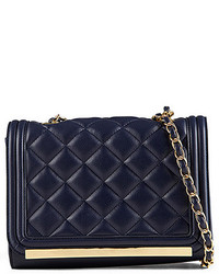 Темно-синяя кожаная стеганая сумка через плечо