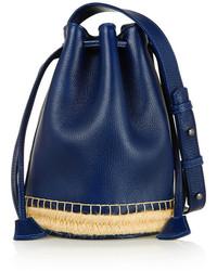 Темно-синяя кожаная сумка-мешок
