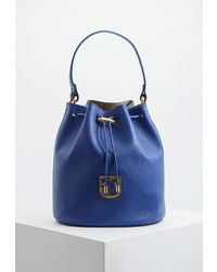 Темно-синяя кожаная сумка-мешок от Furla