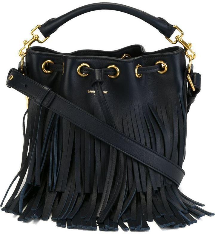 2b2e896101b7 Темно-синяя кожаная сумка-мешок от Saint Laurent, 107 717 руб ...