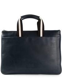 Темно-синяя кожаная сумка почтальона