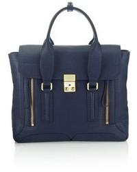 Темно-синяя кожаная сумка-саквояж