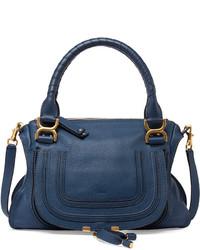 Женская темно-синяя кожаная сумка-саквояж от Chloé