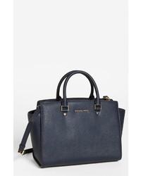 Темно-синяя кожаная сумочка