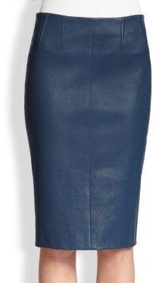 Темно синяя кожаная юбка