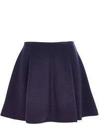 Темно-синяя короткая юбка-солнце