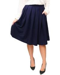 Женская темно-синяя короткая юбка-солнце