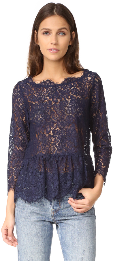 67bc10b8226 ... Темно-синяя кружевная блузка от Joie ...