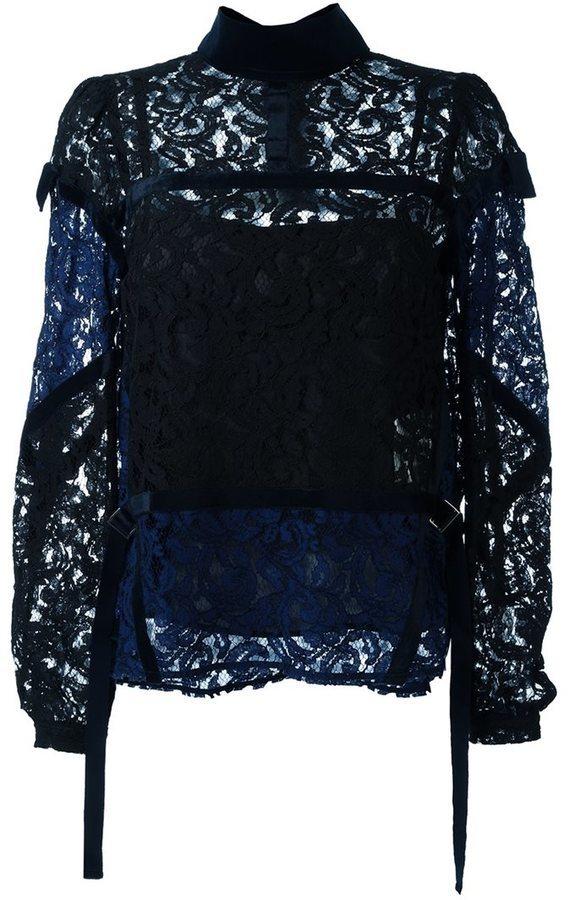 abc9d8adb5b ... Темно-синяя кружевная блузка от Sacai