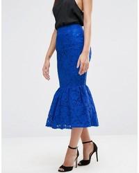 Темно-синяя кружевная юбка-карандаш от Asos