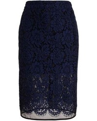 Темно-синяя кружевная юбка-карандаш от MSGM