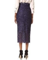 Темно-синяя кружевная юбка-карандаш от Monique Lhuillier