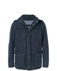 Мужская темно-синяя куртка в стиле милитари от Herno