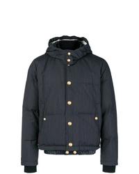Мужская темно-синяя куртка-пуховик в вертикальную полоску от Thom Browne