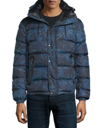 Темно-синяя куртка-пуховик с принтом
