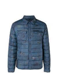 Мужская темно-синяя куртка-пуховик с принтом от Etro