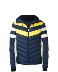 Мужская темно-синяя куртка-пуховик с принтом от Perfect Moment