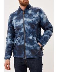 Мужская темно-синяя куртка-пуховик с принтом от Quiksilver