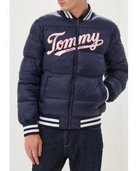 Мужская темно-синяя куртка-пуховик с принтом от Tommy Jeans